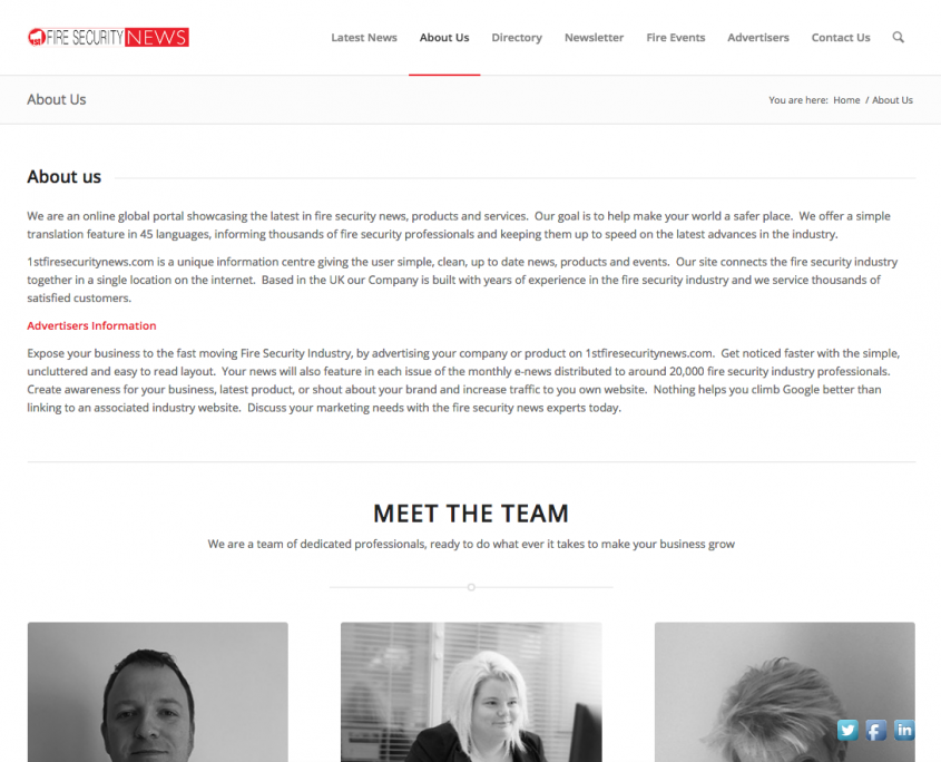 1st Fire Security News Meet The team Page