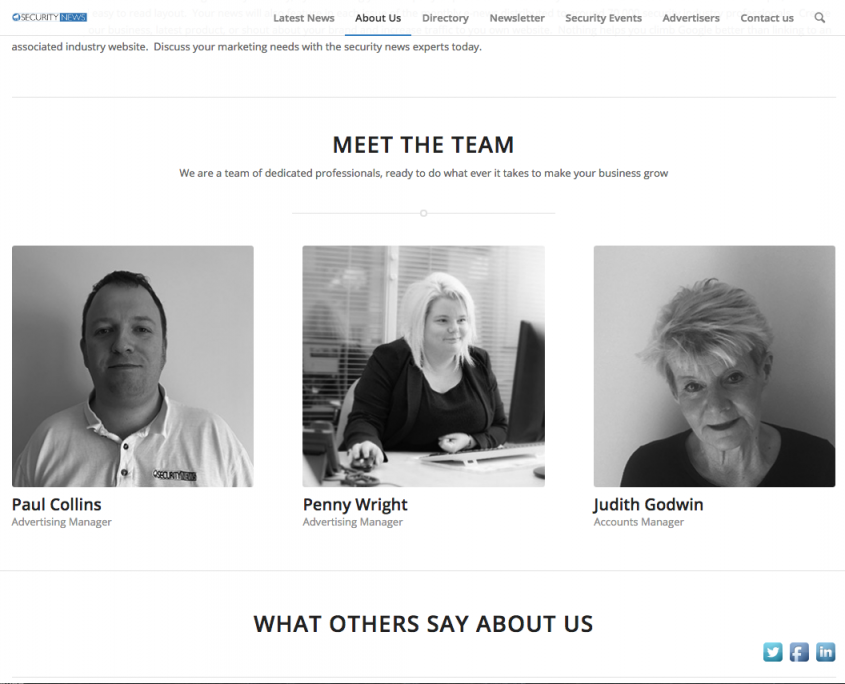 1st Security News Meet The team Page by 1st 4 Media Ltd