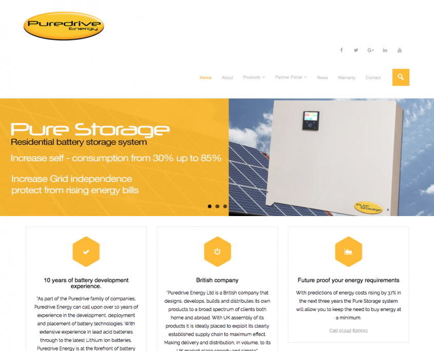 Puredrive Energy Ltd first website design by 1st 4 media